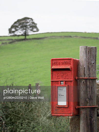 Red postbox, royal emblem, E R ( Elizabeth Reign), United Kingdom - p1280m2220210 by Dave Wall