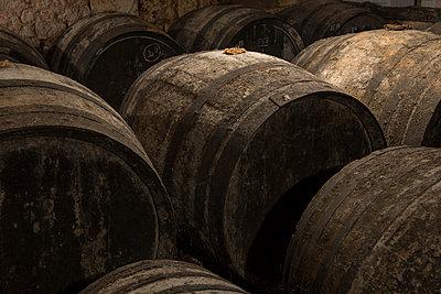 Barrels in winery cellar - p1216m2260523 von Céleste Manet
