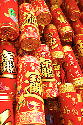Imitation Fire Crackers Used As Chinese New Year Decorations, Hong Kong, Special Administrative Region of the People's Republic of China - p651m2032483 by Neil Farrin photography