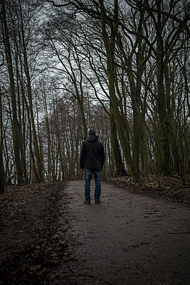 Rear view of a male figure standing in the woods  - p794m2044102 by Mohamad Itani