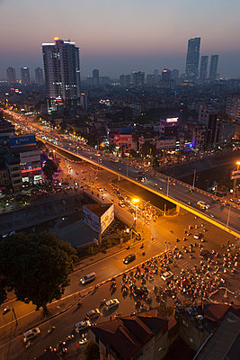 Aerial cityscape of Hanoi at night, Vietnam, Southeast Asia - p934m1071286 by Francois Carlet-Soulages