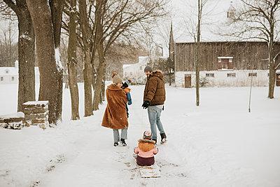 Canada, Ontario, Parents with children (12-17 months, 2-3) on winter walk - p924m2271223 by Sara Monika