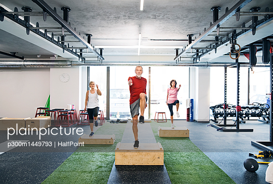 Group of fit seniors working out with wooden boxes in gym | Stock