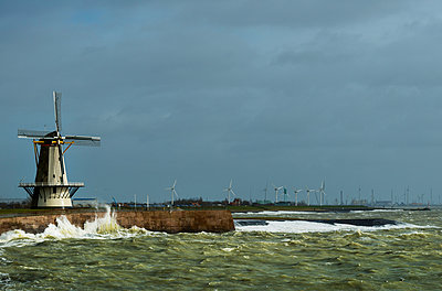 Vlissingen windmill on a stormy day - p1132m1124880 by Mischa Keijser