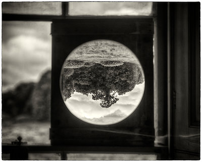 Convex lens attached to window - p1154m1110240 by Tom Hogan