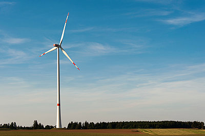 Landscape with wind turbine - p1079m891222 by Ulrich Mertens