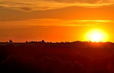 Germany, Bavaria, Upper Bavaria, Egling, sunset - p300m1568233 by Hans Lippert