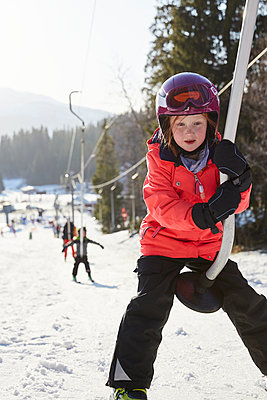 Girl on ski lift - p312m2052497 by Lina Arvidsson