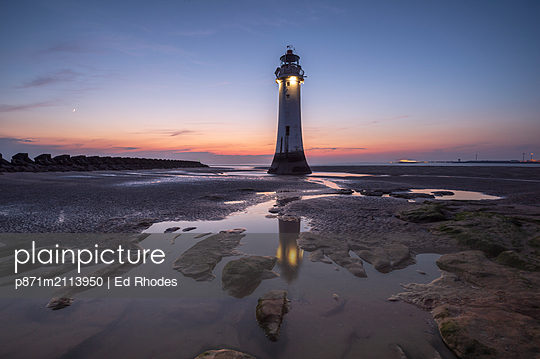 Perch Rock Lighthouse with evening moon, New Brighton, Merseyside, The Wirral, England, United Kingdom - p871m2113950 by Ed Rhodes