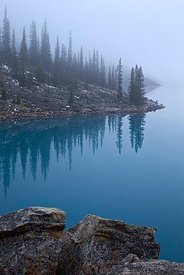 Moraine Lake with fog, Banff National Park, UNESCO World Heritage Site, Alberta, Canada, North America - p871m1006273f by James Hager