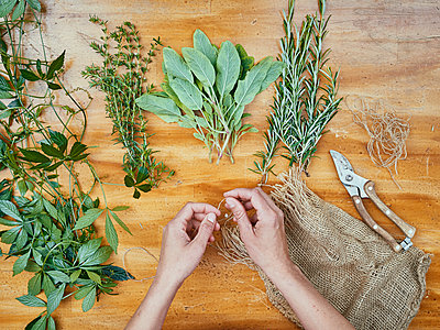 Herbs on wooden table - p962m2175379 by Robert Schlossnickel