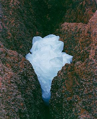 Plastiktüte zwischen Felsen - p817m2291119 von Daniel K Schweitzer