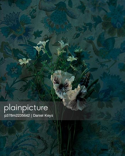 Flowers on floral wallpaper - p378m2235642 by Daniel Keys