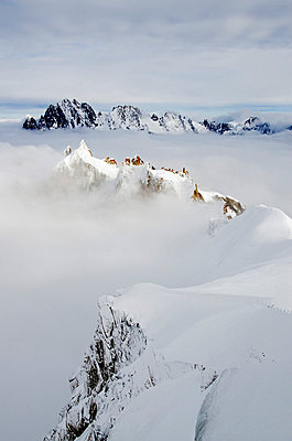 Europe, France, French Alps, Haute Savoie, Chamonix, view of Aiguilles du Dru from Aiguille du Midi - p652m716733 by Christian Kober