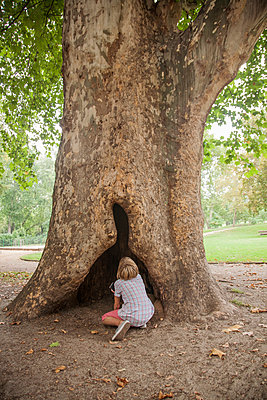 Boy looking up hollow in tree - p429m2019397 by Seb Oliver