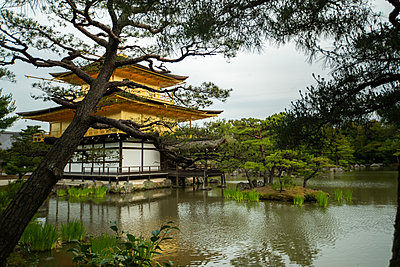 Temple of the Golden Pavilion with pond - p623m2122971 by Pablo Camacho
