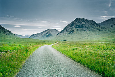 Rural road in Scottish Highlands - p1207m1110882 by Michael Heissner