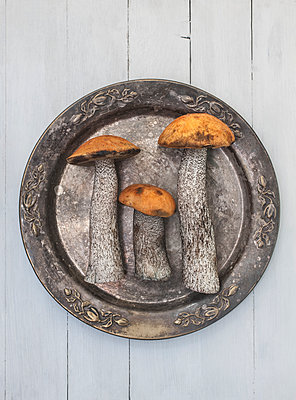 Mushrooms on plate - p971m2020757 by Reilika Landen