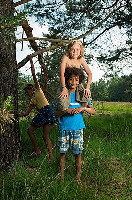 Kids play in the woods - p1132m1152769 by Mischa Keijser