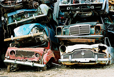 Pile of cars at the junk yard - p1025m789032f by Ronny Lindkvist