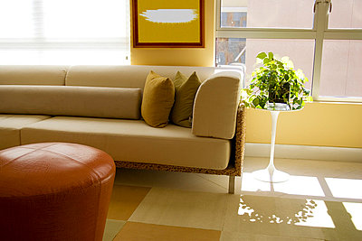 Detail of Contemporary Sofa in Living Room - p5550281f by LOOK Photography