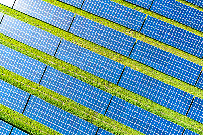 Aerial view of photovoltaic plant - p300m2024222 by Roman Märzinger