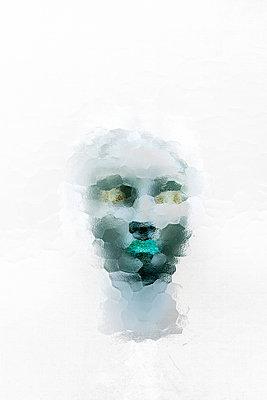 Futuristic woman head - p1028m2065153 by Jean Marmeisse