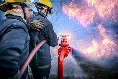 Firefighters in simulation training - p429m768899f by Monty Rakusen