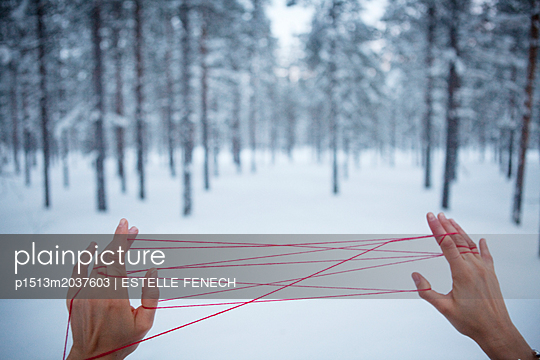 Tangled red threads - p1513m2037603 by ESTELLE FENECH