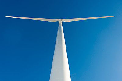 Low angle view of wind turbine - p1079m1042426 by Ulrich Mertens