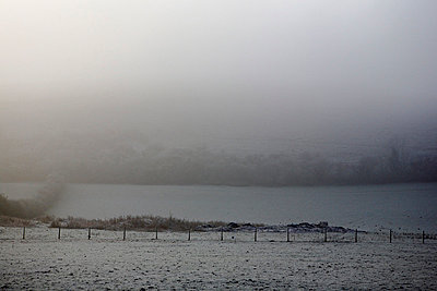 Morning frost in Dorset landscape - p349m789704 by Brent Darby