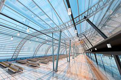 Empty Airport Departure Area, 3D Rendering - p300m2121949 by Spectral photography