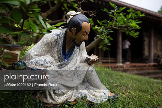 Ceramic figurine displayed in a Bonsai pot, Long Viet private park, Ba Vi - p934m1022162 by Francis Roux photography