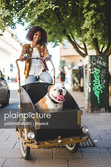 Smiling woman riding bicycle cart with bulldog on cobbled street - p426m2046361 by Maskot