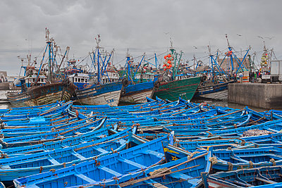 Morocco, Essaouira, Fishing trawlers and famous blue wooden boats - p1280m2244977 by Dave Wall