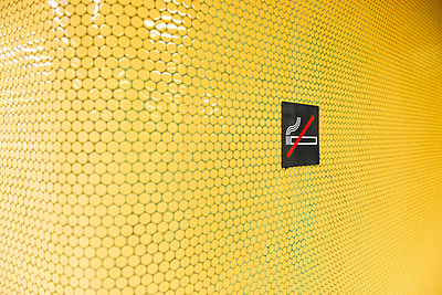 'No smoking' on yellow tiles - p300m1052816f by visual2020vision