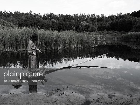 Woman in kimono at the lake - p1229m2101017 by noa-mar