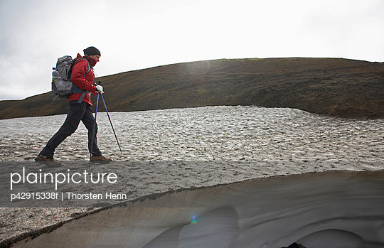 Woman hiking on glacier