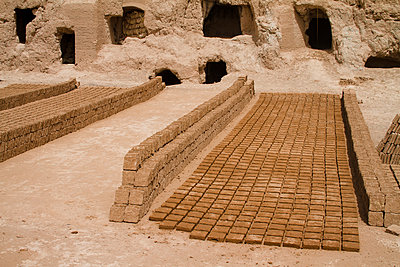 Mud bricks being sun-dried, Narin castle, Meybod - p798m1042972 by Florian Loebermann