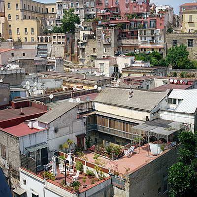 View on a terrace and roof of Naples - p1610m2211713 by myriam tirler