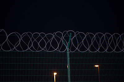 Barbed wire fence. - p1072m941428 by Alison Morton