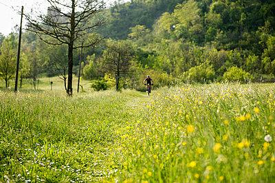 Man riding mountain bike in nature in the Bologna countryside, Italy - p307m937565f by Maurizio Borsari