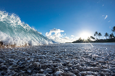 Wave splashing on Ke Iki beach, north shore of Oahu, Hawaii Islands, USA - p343m1543702 by Sean Davey