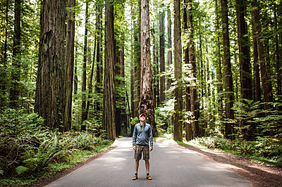 Man standing on street amidst trees in forest - p1166m1099669f by Cavan Images