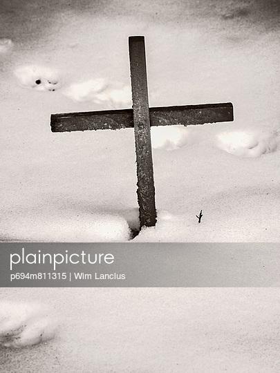 cross, religion, snow,
