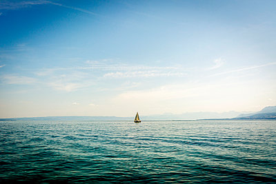 Sailboat on Lake Geneva - p813m1057212 by B.Jaubert