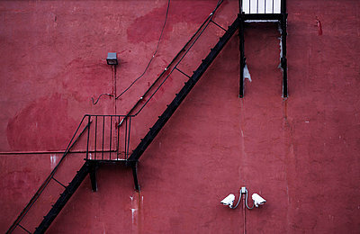 Exterior Staircase Against Red Wall - p694m663736 by Maria K