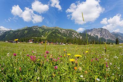 Austria, Vorarlberg, Raetikon, Nenzing, alp 'Nenzinger Himmel', valley Gamperdonatal, village - p300m911420f by Martin Siepmann