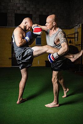Thai boxers practicing boxing - p1315m1198942 by Wavebreak