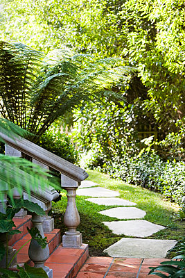 Stone Walkway through Yard - p5550629f by LOOK Photography